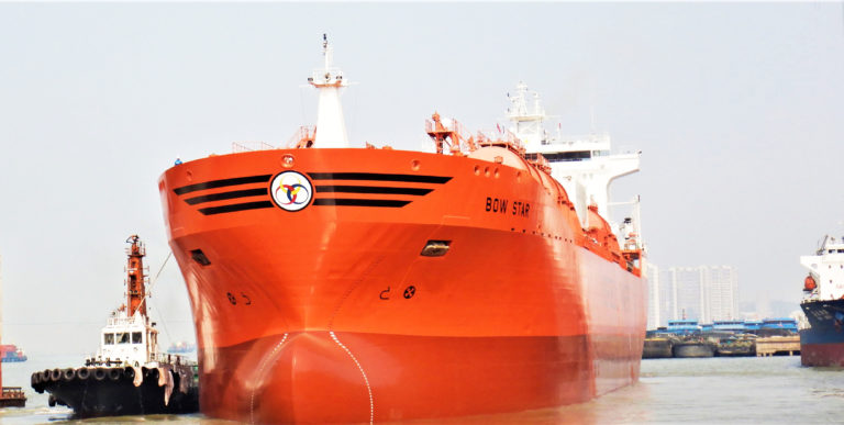 Photo of Odfjell Management AS Bow Star leaving shipyard