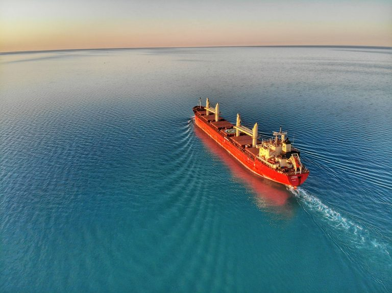 A shipping vessel at sea
