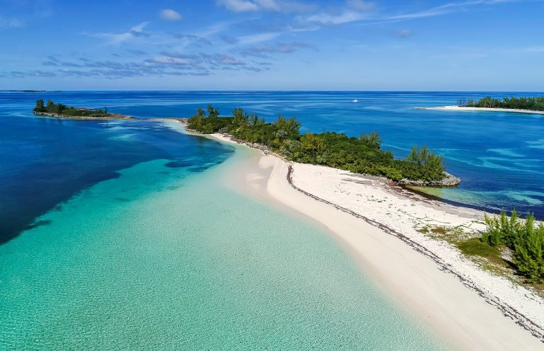 A view of an island in the Bahamas, powered by a microgrid